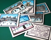 Dutch Christmas cards: Pick any 5. Snowy winter scenes, Amsterdam, windmill, Rijksmuseum, skating, canal houses, colouring in for kids.