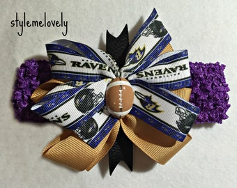 Baltimore Ravens Baby Girl Boutique Bow Crocheted Headband