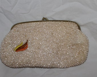 SALE:  Beautiful Beaded Gold Evening Purse, Small, Clutch, Special Event Clutch, Weddings Clutch, Clean, Great Vintage Condion, Nice Price