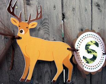 Deer Banner - Deer Birthday Banner - Camo Banner - Camouflage Banner - Hunting Banner -3D