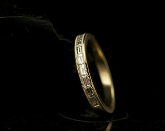 Channel-Set Baguette Diamond Ring in 14k Yellow Gold with Beaded Milgrain, 0.33ctw, 2.7mm Wide, 3/8 Eternity Style, Wedding Band, Dulcé