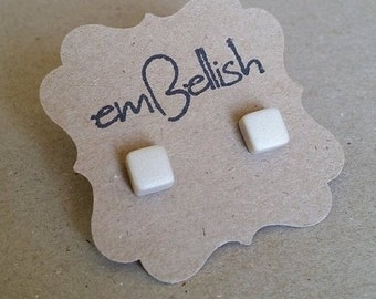 Small Polymer Clay Square Studs