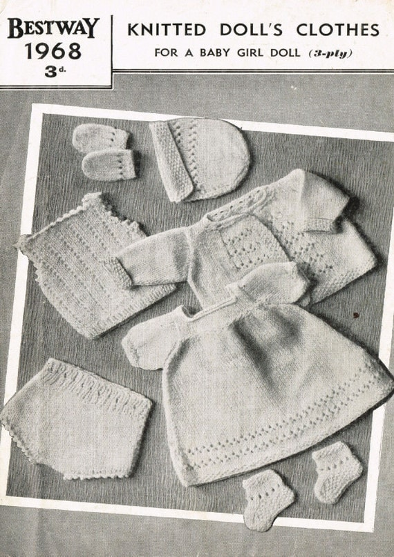 Vintage Knitting Patterns For Dolls Clothes : Vintage knitting pattern To knit Dolls clothes in 3ply