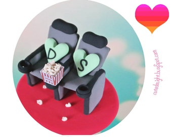 CINEMA Seats wedding Cake Topper,Movie seats Cake Topper,cinema bride and groom,cinema wedding,movie wedding cake topper,popcorn cake topper