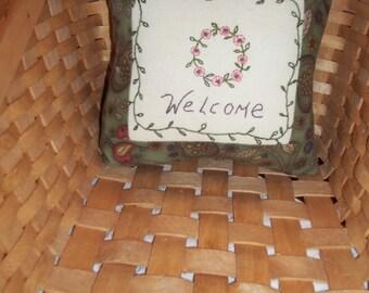 Floral Stitchery Pillow