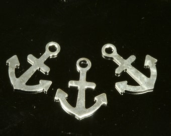 150 pcs 12x9 mmsilver tone anchor, 1 loop,charms ,brass pendant, brass findings NF926