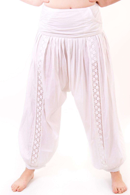 Crochet Pattern Yoga Pants : Womens Cotton Yoga Harem Pants with Crochet insert. Git
