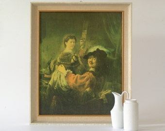Framed Rembrandt Painting Print Rembrandt Self-Portrait with Saskia in white wooden frame