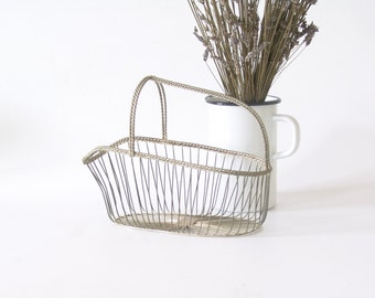French vintage bottle holder France country style metal basket string wire carrier