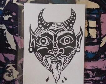 Satanic Head Illustration