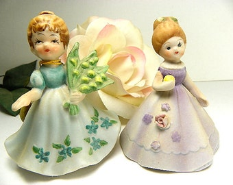 April Sweet Pea Birthday Figurine and Mismatched Bell Figurine