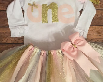 Light Pink, Ivory, Gold, Silver, and Grey 1st Birthday Scrap Fabric Tutu Outfit