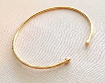 Ball End Stacking Cuff ~ Simple Hand Forged Brass Cuff Bracelet ~ Open Thin Gold Bangle Bracelet