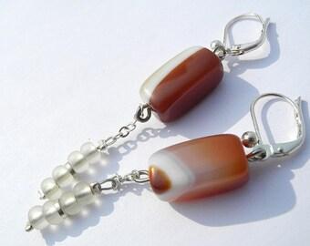 Petrified Fire - Carnelian earrings, red earrings, dangles, jewelry set, handmade, spring trends, genuine gemstone jewelry, march trend