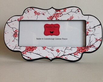 barber cosmetology license frame in black white red cherry blossom print fits 8 12x 3 58 business certification