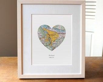 Portland Heart Map, Portland Map, Oregon Print, Heart Map Print, Choose any hometown, Custom Valentines Gift, Valentines Day Print