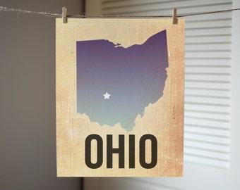 Ohio Print, State Print Ohio, Ohio Ombre Print, Burlap, Ombre, Ohio Art