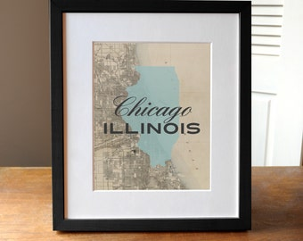 Chicago Map Print, Chicago Illinois Print, Illinois Print, Chicago Art, State Print Illinois