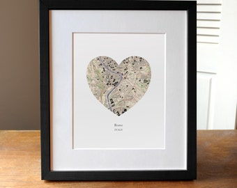 Rome Italy Heart Print, Rome City Map Print, Heart Map Print, Wedding Engagement or Anniversary Gift