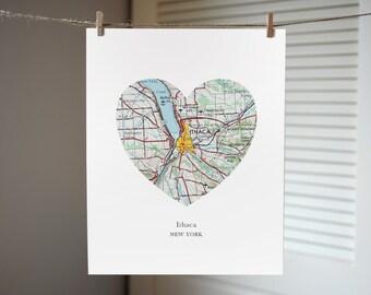 Ithaca New York Heart Map Print, New York Art, Ithaca Map Print, Custom City Art Print