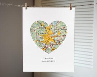 Worcester Massachusetts City Heart Print, Massachusetts Art, Worcester City Print, Custom City Art