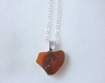 "Cape Breton, Nova Scotia heart shaped amber sea glass pendant with silverplate bail and 18"" chain (PA29)"