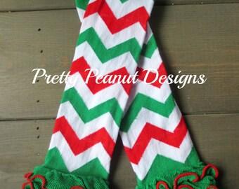 Christmas Baby Leg Warmers - Ruffled Baby Leg Warmers  - Christmas Chevron