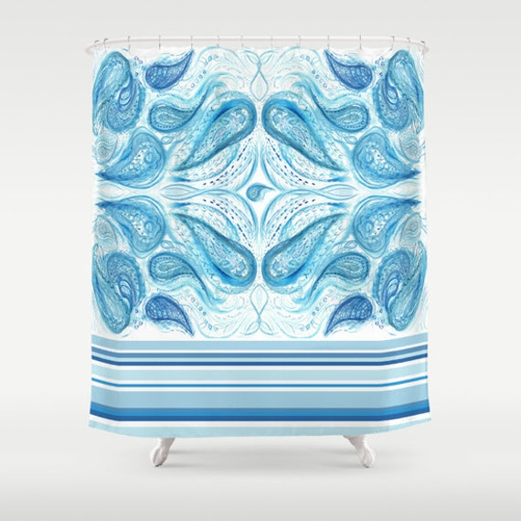 Items Similar To Blue Paisley Shower Curtain Watercolor Paisley Design Blue And White China