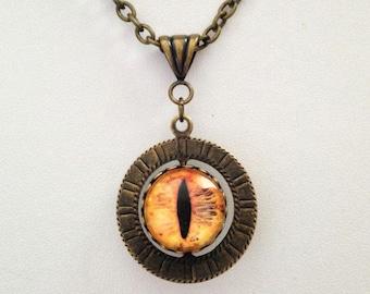 Cat Eye Dragon Eye Two-Sided Swivel Pendant in Antique Bronze
