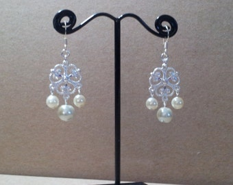 White Glass Pearl and Silver Plated Earrings