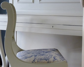Hand painted, upholstered chair, vintage chair, toile de jouy, Shabby chic, painted furniture, upcycled, occasional, dining chair, seating.
