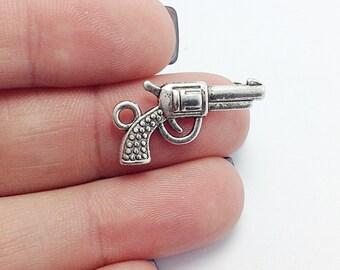 10 Gun Charms, Silver Gun Charms, Pistol Charms (1-1055)