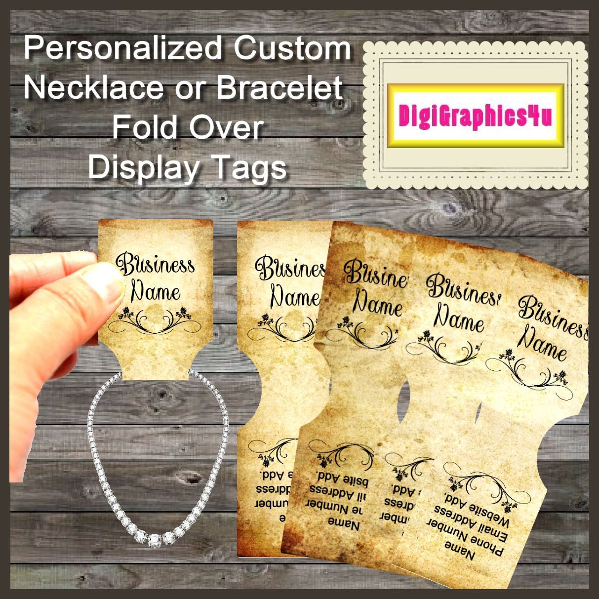 Custom Jewelry Tags Weathered Inspired For Necklace Or