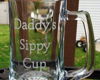 Daddys Sippy Cup Etched Glass Beer Mug Gift  By Crystal Creek Boutique