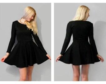 Long sleeves black skater dress, black circle dress, skater dress, black dress, little black dress, white skater dress.