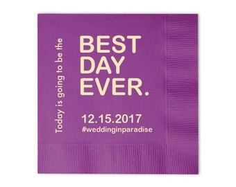100 Personalized Napkins Personalized Napkins BEST DAY EVER  Wedding Napkins Custom Monogram Best Day Ever