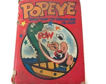 Big Little Children's Antique Book Popeye - Ghost Ship to Treasure Island