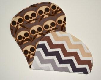 Brown Skeleton Mustache Burp Cloth with Chevron Print