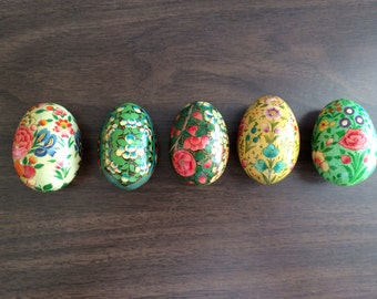 Hand Painted Wood Floral Design Eggs , Set of 5