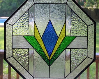 Octagon stained glass window - Geometric design