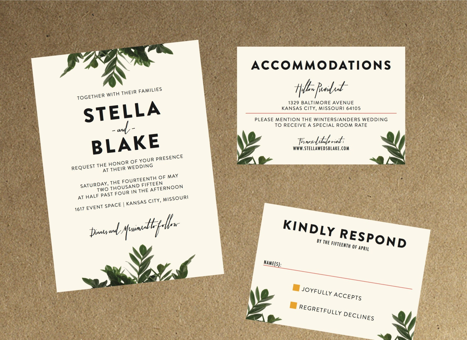 Modern Botanical Greenery Wedding Invitation DIY Printable