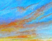 Sunrise art, cloud artwork, abstract sky art, sunset art, colorful cloud art,  Original abstract artwork by Nancy Quiaoit at NancyQart