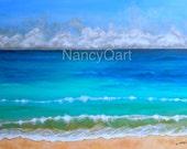 Beach art, ocean painting, seascape artwork, canvas ocean art, waves art, Original beach art by Nancy Quiaoit at NancyQart
