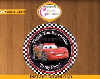 Disney Car Tag- Favor Tags- Cars Movie Sticker-Party Tags-Thank You Tag- Gift Tags- Birthday -Printable- INSTANT DOWNLOAD-CraftyCrearionsUAE