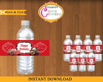 Disney Cars Water Bottle Labels- Printable Disney Cars Birthday- Cars Party Labels- Water Bottle Wraps -INSTANT DOWNLOAD -CraftyCreationsUAE
