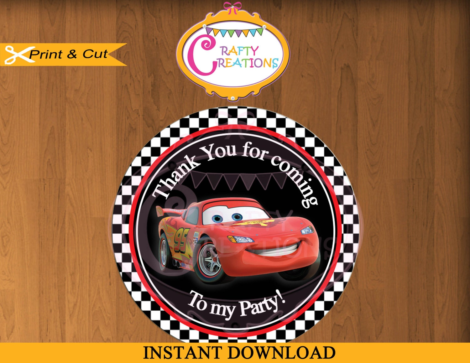 Disney Car Tag Favor Tags Cars Movie StickerParty