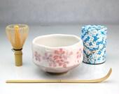 Japanese Ceremony Beginner Tea Set with 30g Organic Matcha Green Tea Powder Kyoto Uji #Blue266