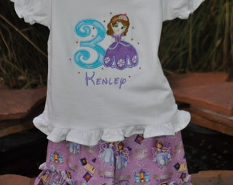 Princess Sofia Birthday Shirt and Double Ruffle Capris - Girls birthday outfit - Sofia