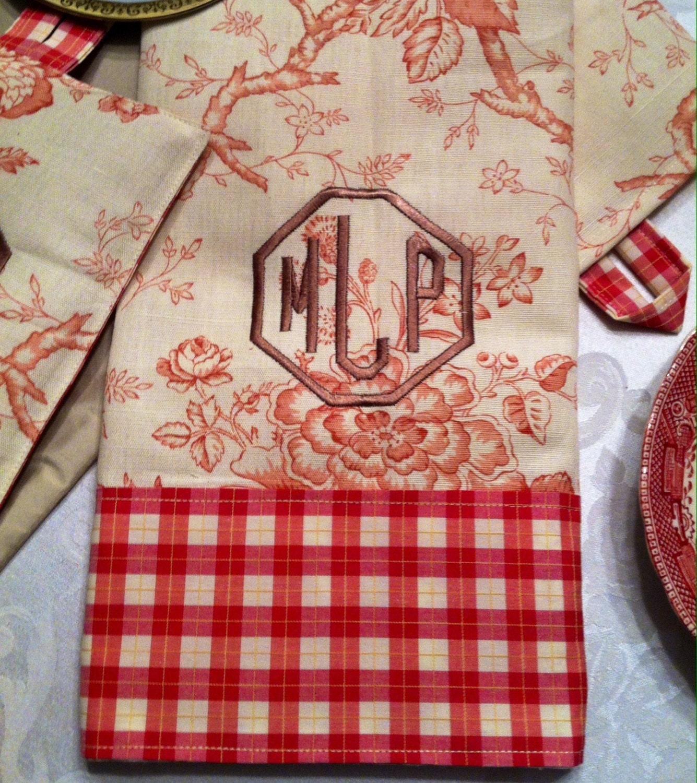 Red Kitchen Hand Towels: Monogrammed Kitchen Towel Hand Towel Vintage By