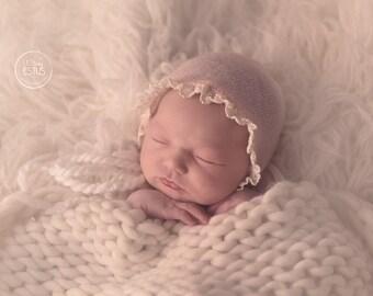 NEWBORN BABY BONNET, knit baby bonnet, light peach, newborn, ivory trim, handmade, baby photo prop,  photography prop, baby photo prop